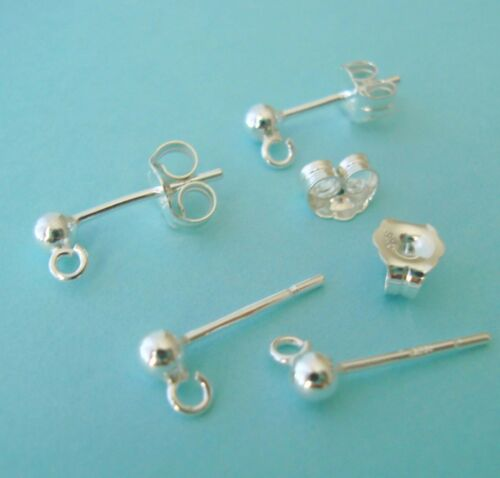 10x 925 Sterling Silver 3mm ball bead Earring Post butterfly back ear wire E28s