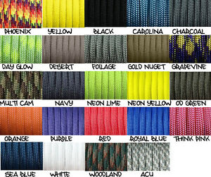 550-paracord-parachute-cord-Mil-Spec-Type-III-7-strand-10ft-20ft-50ft-100ft
