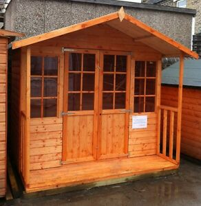 image is loading 8x9 wooden summerhouse inc 2 039 veranda georgian - Garden Sheds With Veranda