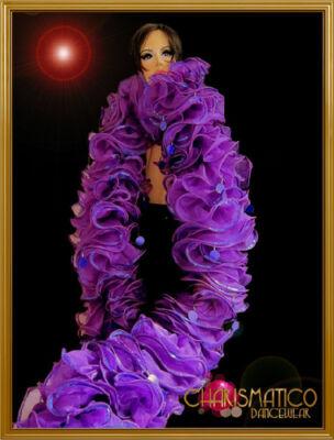 CHARISMATICO Purple organza ruffle boa with violet trim and jumbo-sequin accents