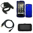 iNcido Brand LG Chocolate Touch VX8575 Combo Black Horizontal Leather Pouch + Rapid Car Charger + USB Data Charge Sync Cable + Rubber Feel Blue Protective Case Faceplate Cover for LG Chocolate Touch VX8575