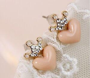 Fashion-Cute-Lovely-Sweet-Rhinestone-Crown-Love-Heart-Stud-Earring-E22-Free-Ship