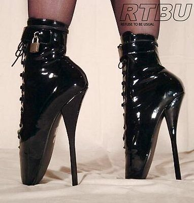 """7"""" Ballet Pointe Extreme Fetish Hi Heel Pinup Shoes  Restraints Lockable Padlock"""