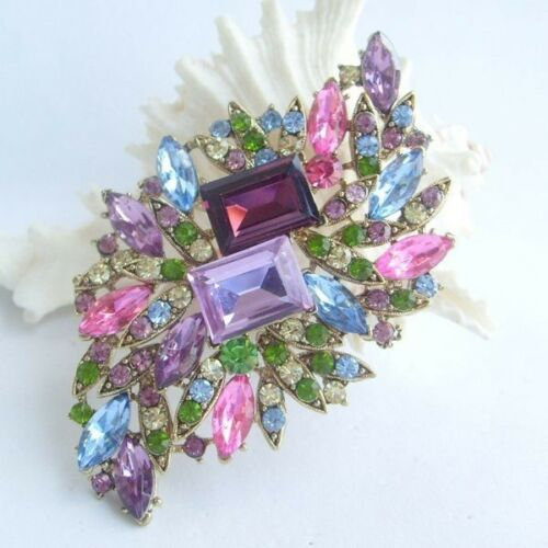 "3.94""Pretty Leaf Flower Brooch pin w Multicolor Rhinestone crystals EE04079C3a"