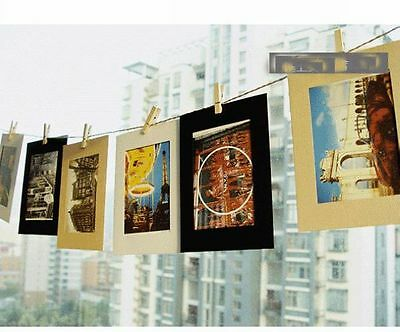 10x Picture Photo Frame Album Display Photograph Hanging Wooden Clip String Set