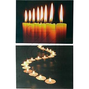 led wandbilder set beleuchtet kerzenmotiv mit flacker leds ebay. Black Bedroom Furniture Sets. Home Design Ideas