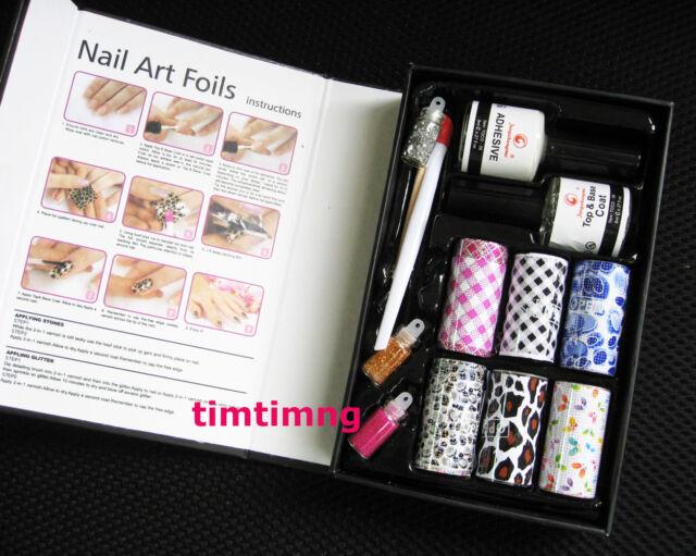 Nail Art Foils Transfer Kit Adhesive Tips Creative Nail Art Materials DIY Set