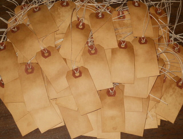 * 25 SMALL BLANK GRUNGY PRIMITIVE COFFEE STAINED handmade HANG TAGS