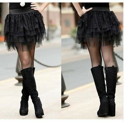 NEW BLACK SKIRT LAYERED TULLE AND LACE TIERED LADIES TUTU SKIRT