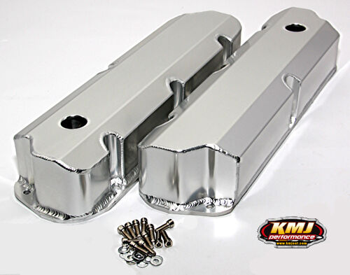 SBF Ford 289 302 351W Fabricated Aluminum Valve Covers - Satin Finish Short Bolt