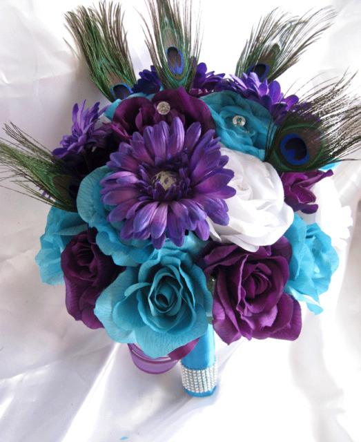 Wedding Bouquet Bridal Silk flowers TURQUOISE  PURPLE PLUM PEACOCK FEATHER 4pc