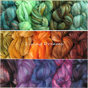 Color Sampler FELTING WOOL hand dyed Top Roving Craft Fiber NEEDLE
