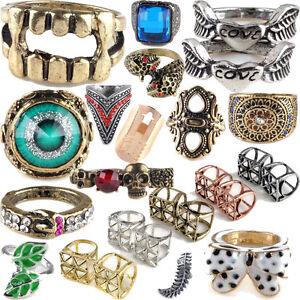 New-Fashion-Punk-Rock-Gothic-Heart-Skull-Vintage-Rivet-Retro-Gemstone-Cube-Rings