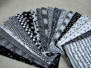 20-Fat-Quarter-Quilt-Fabric-Lot-Black-amp-White-Stash-A1