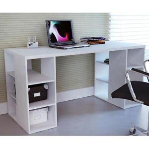 Modern sleek bloc desk w storage shelves white home for Table student