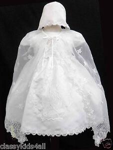 Infant Toddler Baby Girl Christening Baptism White Dress Gown 0 6 ...