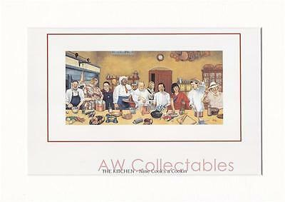 THE KITCHEN NINE COOKS A COOKING AN A4 MOUNTED  JEDD COLOUR PRINT
