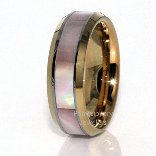 Gold IP Tungsten Ring  7MM Rare Pink Mother of Pearl MOP Shell Inlay Comfort Fit