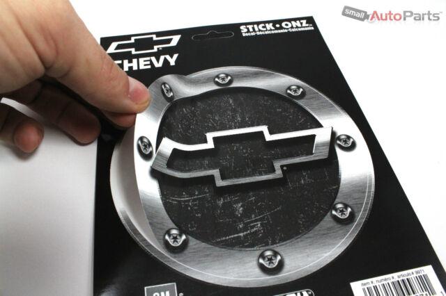 Chevy Gas Tank Cap Round Vinyl Machined/Chrome Look Logo Bowtie Decal Sticker