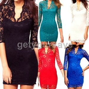 Sheer-Sexy-Women-Ladies-Stylish-Lace-Slim-Party-Clubwear-V-Neck-3-4-Sleeve-Mini