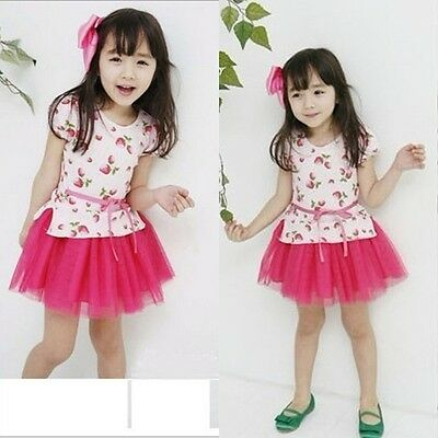 New Kids Toddlers Girls Strawberries Image 100% Cotton And Tulle Dress 4-8Y D138