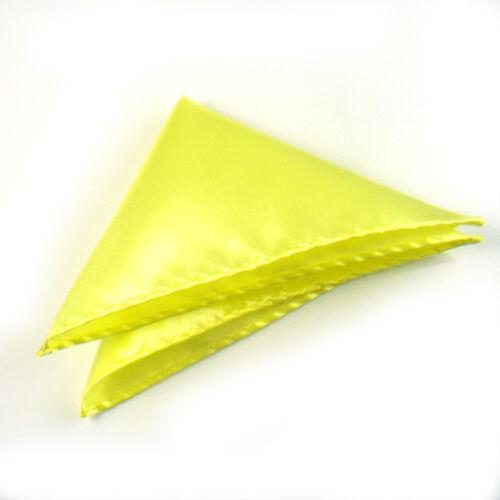 Mens Formal Wedding Satin Hanky Solid Colour Pocket Square Hankie Handkerchief