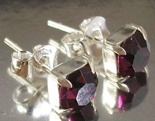Sterling Silver and purple Crystals Stud Earrings February Birthstone colour 5mm