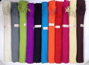 12 NEW Soft 100% Solid Pashmina Cashmere Shawl scarf Stole Wrap Fashion Women