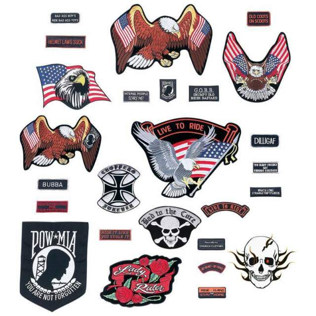 NEW Wholesale Lot 26 pc Embroidered Biker Motorcycle Patches Vest Jacket Set