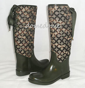 NEW-Coach-TRISTEE-Olive-Knee-High-Tall-Snow-Rubber-Rain-Boots-Shoes-6-7-8-9-10