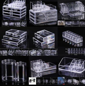 New-Cosmetic-organizer-makeup-drawers-Display-Box-Acrylic-Clear-Cabinet-Case-Set