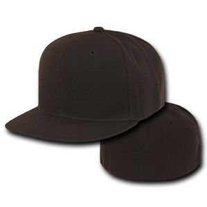 Brown-Fitted-Flat-Bill-Plain-Solid-Blank-Baseball-Ball-Cap-Caps-Hat-Hats-7-SIZES