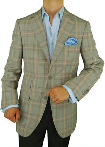 649-Gino-Valentino-Made-in-Italy-Wool-Silk-2-Button-Blazer-Ticket-Pocket-Gray