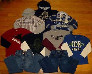 BOYS-9-pc-LOT-GYMBOREE-GAP-OLD-NAVY-CARTERS-Hoodie-Shirts-Jeans-5-6-EUC