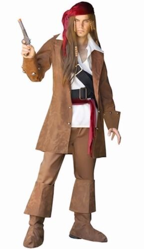 Deluxe Pirates Jack of the Caribbean Pirate Men Fancy Dress Costume 8 Piece Set