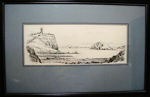 Bill-Lawrence-ink-sketch-titled-039-Duntulm-Castle-from-Port-Duntulm-amp-Tulm-Island-039