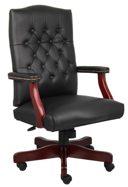 BLACK LEATHER EXECUTIVE OFFICE CHAIR WITH MAHOGANY WOOD BASE B905