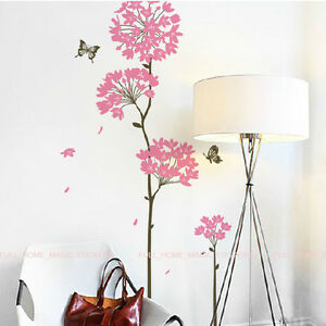Pink dandelion flower butterfly wall stickers wall decals for Butterfly wall mural stickers