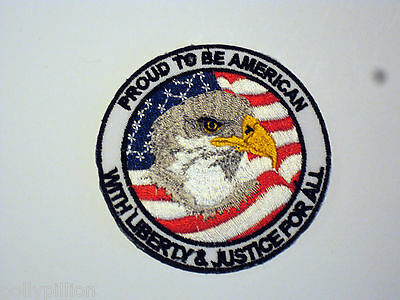 NOVELTY MILITARY SEW/IRON ON PATCH:- PROUD TO BE AN AMERICAN EAGLE US FLAG