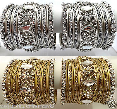Indian Bollywood Ethnic Wedding bangles bracelet Gold and Silver color Available
