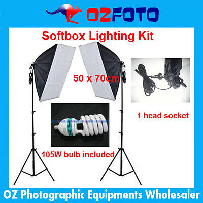 Photography Photo Studio E27 one head Socket Lighting Soft Box  Lightstand kit