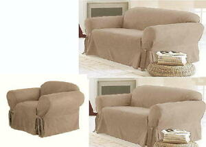 3-PC-Beige-Micro-Suede-Couch-Sofa-Loveseat-Chair-Slip-Cover-New