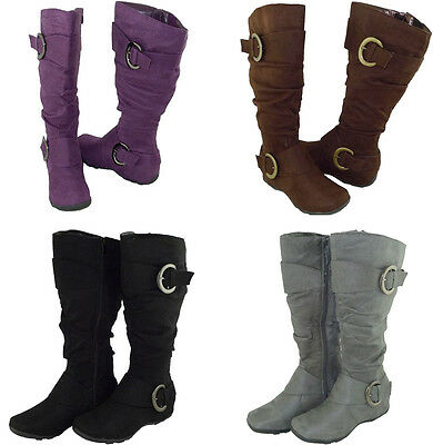 Women Boots Cute Knee High Fashion Design Buckle Style Faux Suede All Size