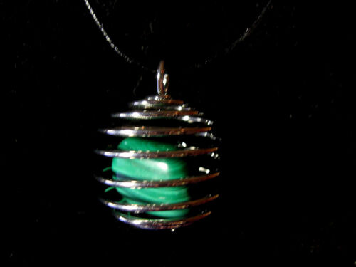 RAJ081 Necklace//Pendant Mineral Semi Precious Spiral Cage 25mm Large Various