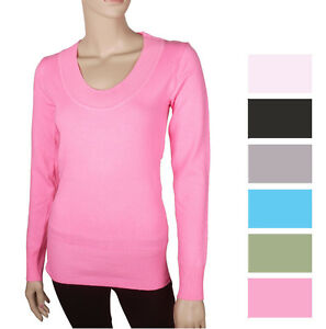 Womens-Knit-Tunic-Sweater-Long-Sleeve-Scoop-Neck-Top-Blak-Pink-Green-Gray-white