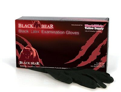 BLACK BEAR Exam Grade Black Latex Disposable Tattoo Gloves 100pcs/Box S,M,L,XL