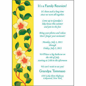 25 Personalized Family Reunion Invitations FRF02 Yellow Floral