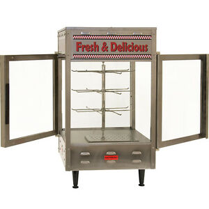 Rotating Heated Display Cabinet Food Warmer Commercial Double Glass Door Case Ebay