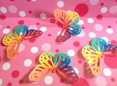 12 x Rainbow coloured 3D edible butterflies wafer  PRE CUT easy to use