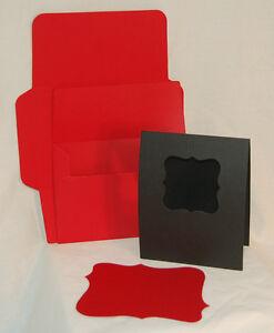A2 Black Antique Window Cards w/ Red Mats & Envelopes makes 8 AccuCut die cuts
